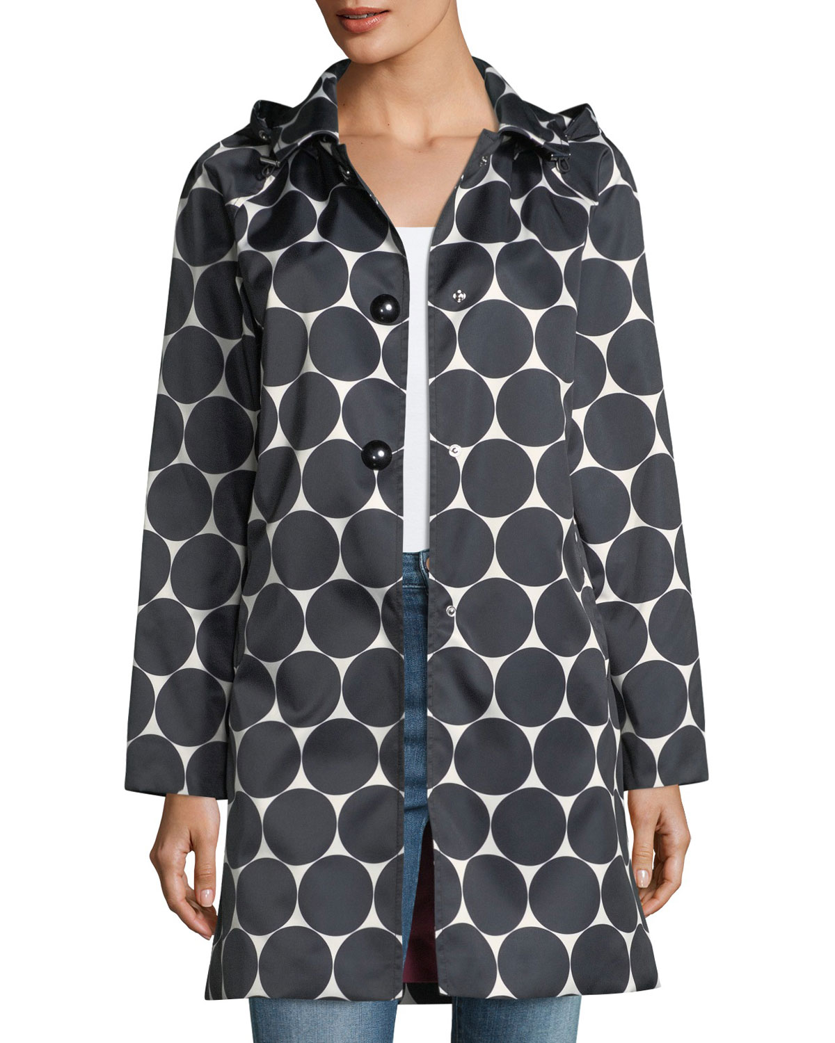 Front Rain Dot Hooded Neiman Spade York Coat Kate New Marcus Button  1nqPHwxXfa c9e0ca9941d