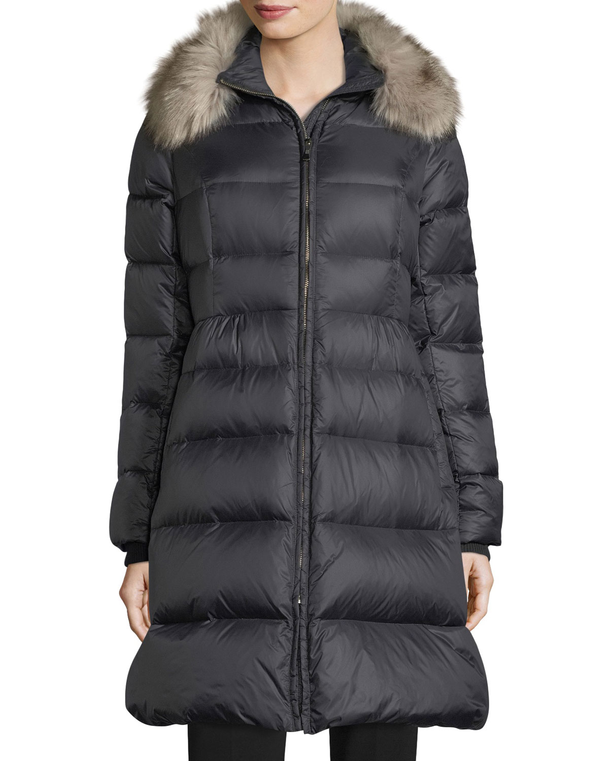 cbe23db182ce kate spade new yorkquilted puffer down skirted coat w  faux-fur collar