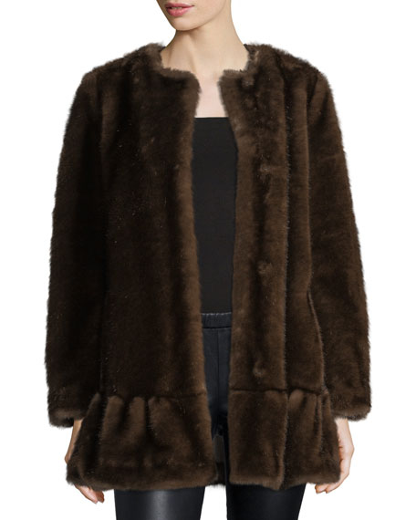 faux fur coat with flounce hem