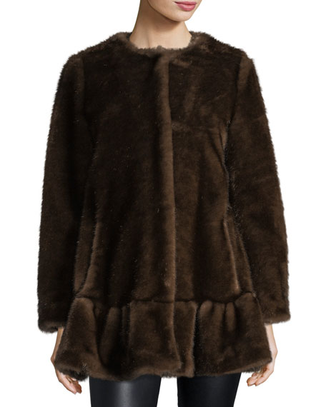 kate spade new york faux fur coat with