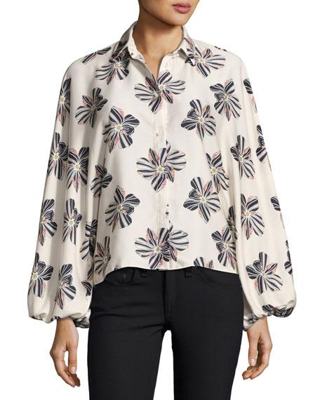 Alexis Keren Button-Front Floral Top, Floral