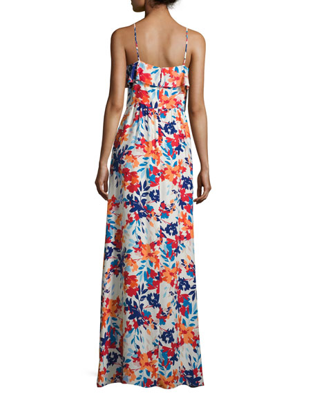 Bellaire Floral-Print Silk Maxi Dress, Multi