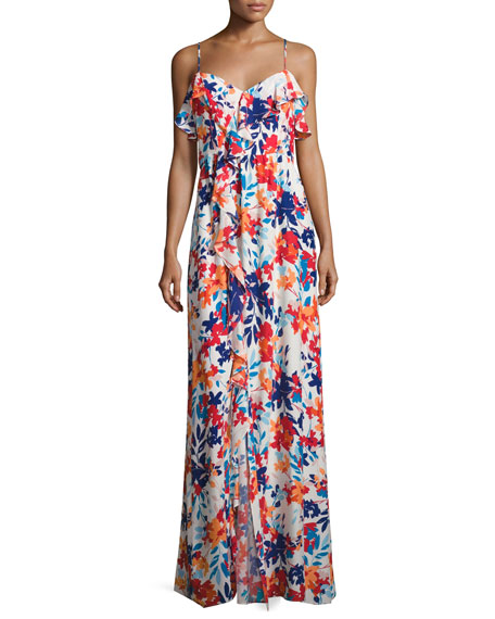 Parker Bellaire Floral-Print Silk Maxi Dress, Multi