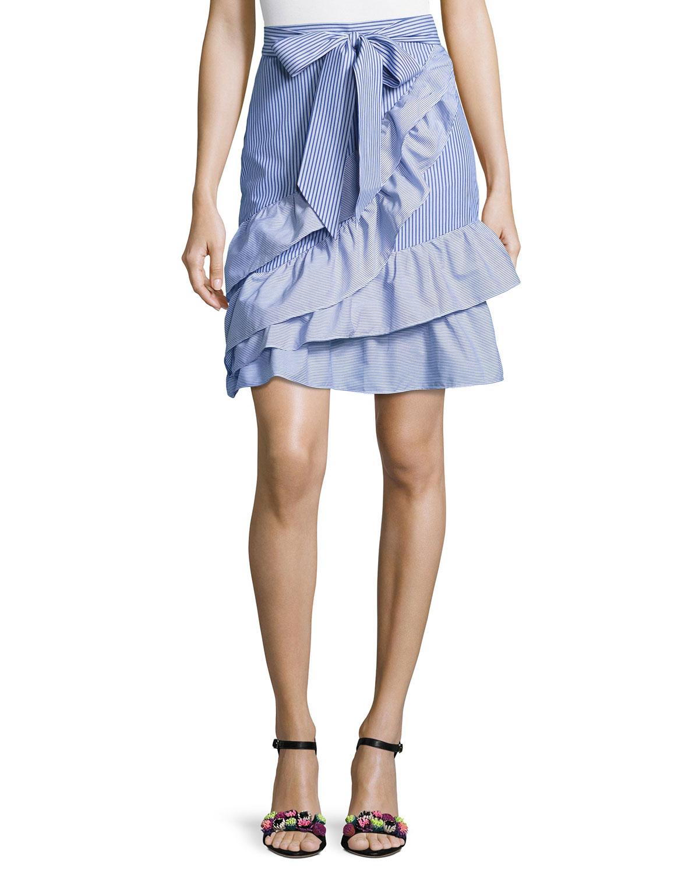 fea4312623c3 Parker Lambert Bow-Tie Striped Poplin Skirt, Blue-White   Neiman Marcus