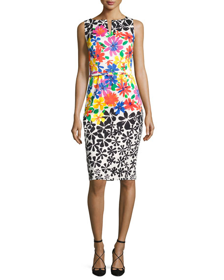 David Meister Sleeveless Belted Floral Sheath Dress, Multicolor