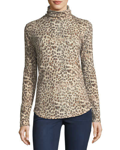Leopard-Print Cotton/Cashmere Turtleneck