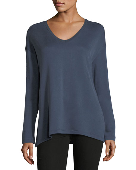 Majestic Paris for Neiman Marcus Cotton-Blend V-Neck Sweatshirt