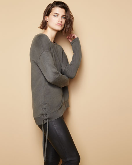 Lace-Up Side Sweatshirt