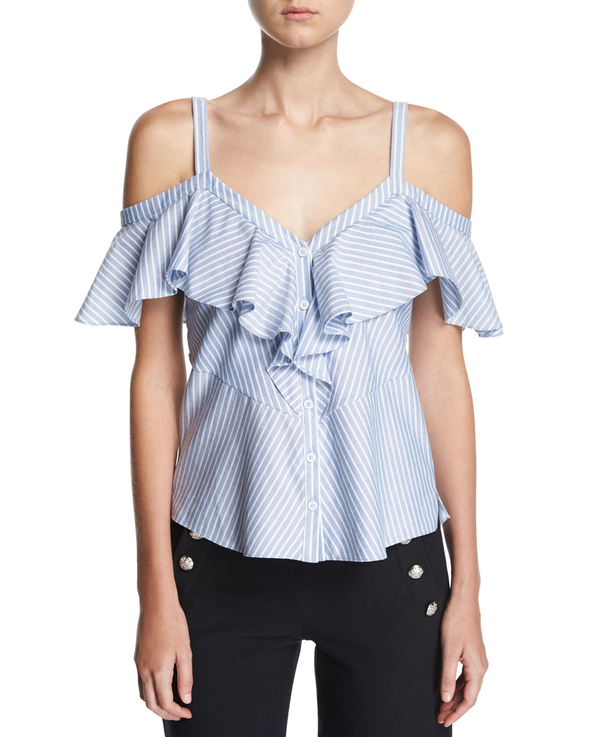 706fe33a1d894 Veronica Beard Grant Off-Shoulder Ruffle Top