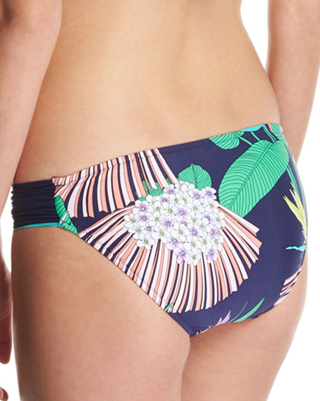 Midnight Paradise Shirred-Side Swim Bottom, Blue-Multi