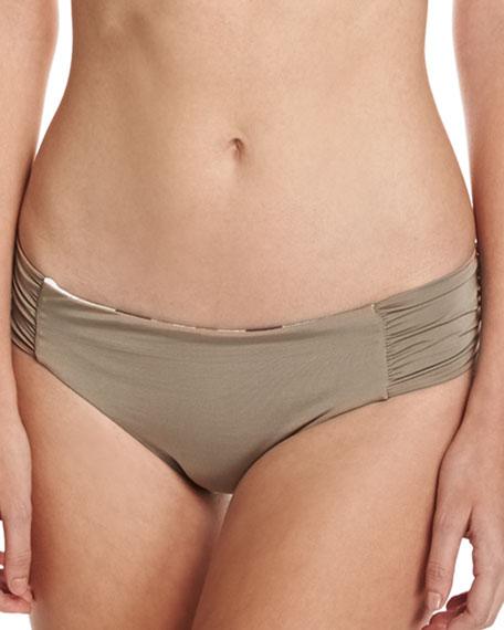 Disco Deco Reversible Shirred-Side Swim Bikini Bottoms, Multi