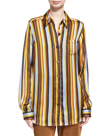 Acne Studios Buse Striped Long-Sleeve Boyfriend Shirt, Brown