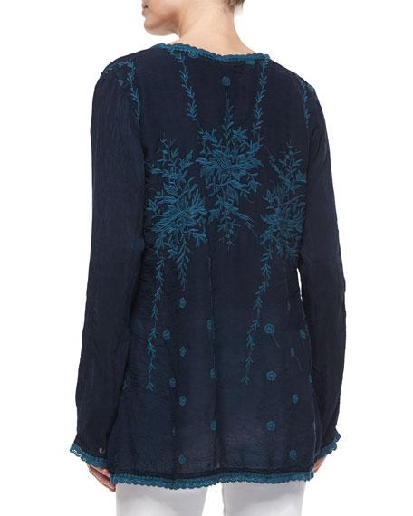 Vine Embroidered Georgette Tunic, Plus Size