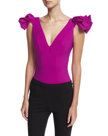Belvisette V-Neck Two Rose One-Piece Swimsuit