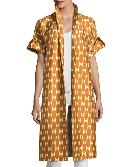 Haley Diamond Tile-Print Short-Sleeve Silk Jacket, Orange/White