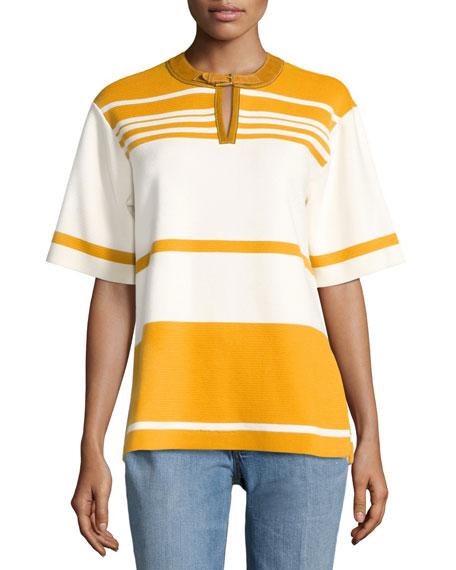 Tory Burch Krista Suede-Trim Striped Colorblock Tunic,