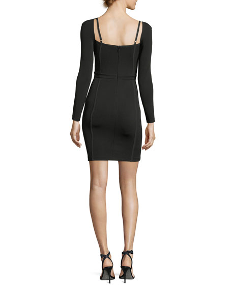 Fitted Long-Sleeve Bustier Dress
