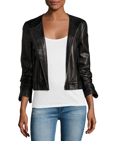Theory Onorelle Noble Cropped Leather Jacket, Black ...