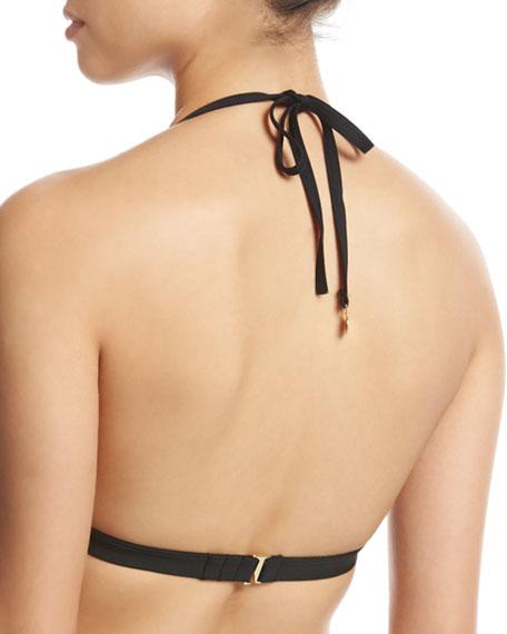scalloped triangle swim top, black