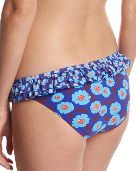 double ruffle classic bikini swim bottom, blue