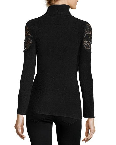 Lace-Shoulder Cashmere Turtleneck