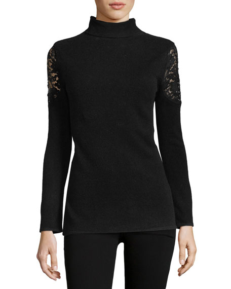 Neiman Marcus Cashmere Collection Lace-Shoulder Cashmere Turtleneck