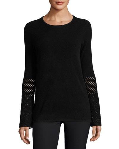 Cashmere Crochet-Sleeve Crewneck Sweater, Black