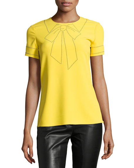 Short-Sleeve Studded Bow Illusion Blouse