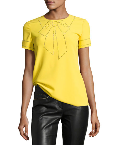 Boutique Moschino Short-Sleeve Studded Bow Illusion Blouse