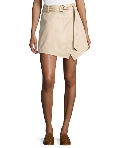 FRAME Trench High-Rise Cotton Skort, Khaki