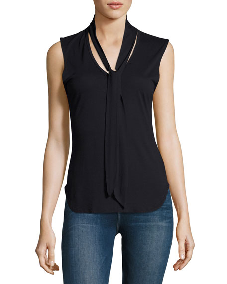 Tie-Neck Sleeveless Top, Navy