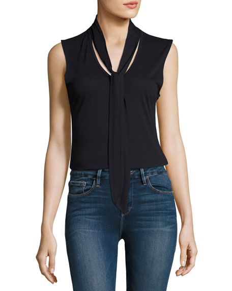 FRAME Tie-Neck Sleeveless Top, Navy and Matching Items