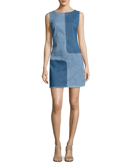 AG Indie Two-Tone Paneled Denim Dress, Blue