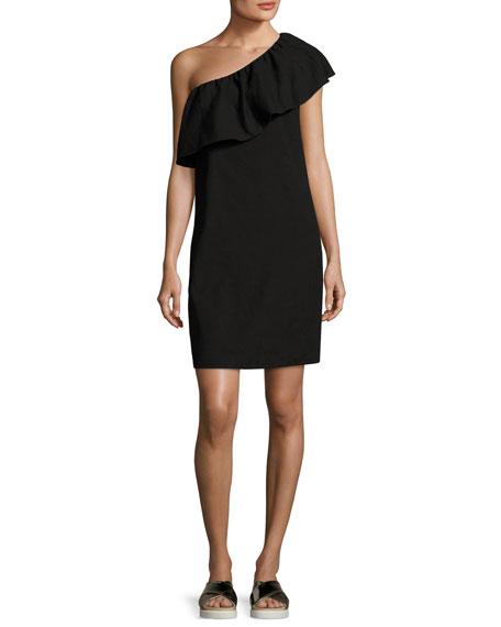7 For All Mankind One-Shoulder Ruffle Mini Dress,