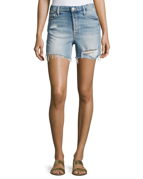 Mother Denim Proper High-Rise Denim Shorts, Indigo