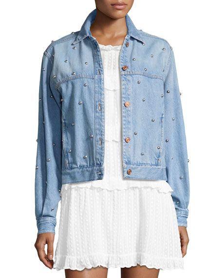 Coften Beaded Denim Jacket, Blue