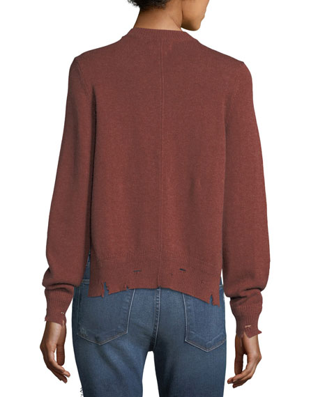 Kelia Crewneck Distressed Cotton-Wool Sweater