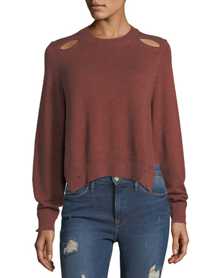 Etoile Isabel Marant Kelia Crewneck Distressed Cotton-Wool
