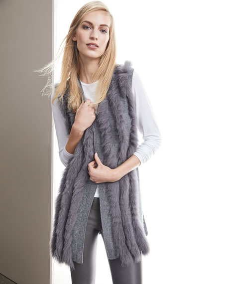 Luxury Cashmere Vest w/ Fox Fur Stripes