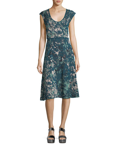 M Missoni Scoop-Neck Floral Jacquard Cap-Sleeve Dress