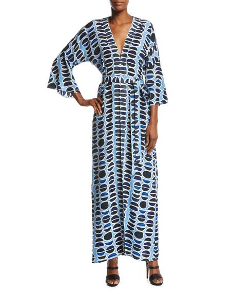 Alexis Millan Silk Maxi Dress, Blue Pattern
