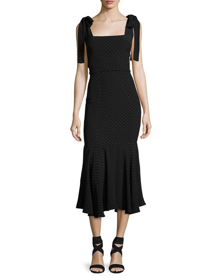 Pauldine Dotted Square-Neck Midi Cocktail Dress, Black Pattern