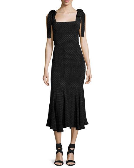 Alexis Pauldine Dotted Square-Neck Midi Cocktail Dress, Black