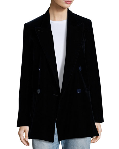 Acne Studios Jara Velvet Double-Breasted Long Blazer, Dark