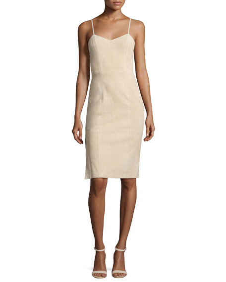 Alice + Olivia Rochelle Suede Fitted Midi Dress,