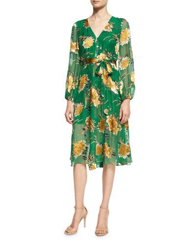 Coco Plunging V-Neck Midi Dress, Green Yellow Multi