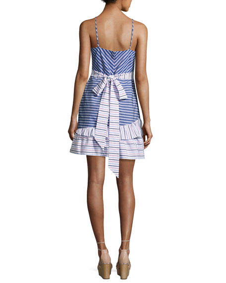 Brooklyn Striped Layered Ruffled Dress, Multi