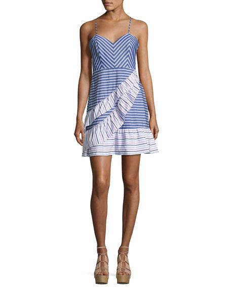 Parker Brooklyn Striped Layered Ruffled Dress, Multi