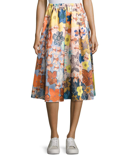 Acne Studios Sabina Floral Satin A-Line Midi Skirt, Pink Pattern