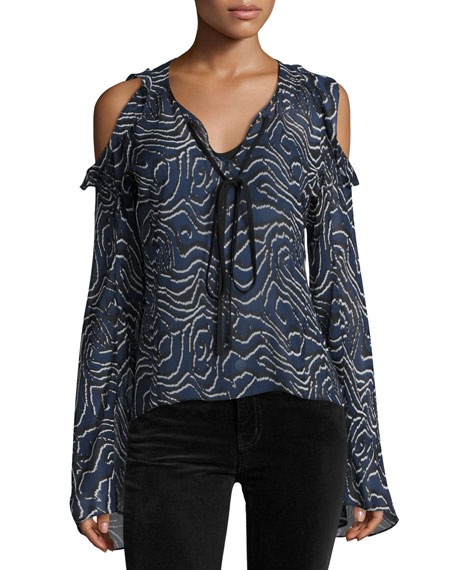 Derek Lam 10 Crosby Ruffled Cold-Shoulder Chiffon Blouse,